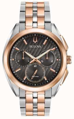 Bulova | curva | cronografo | quadrante nero | bracciale in acciaio bicolore | 98A160