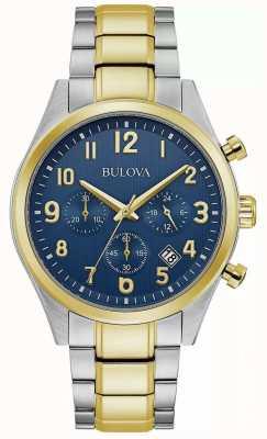 Bulova Cronografo | quadrante blu | bracciale in acciaio bicolore 98B346