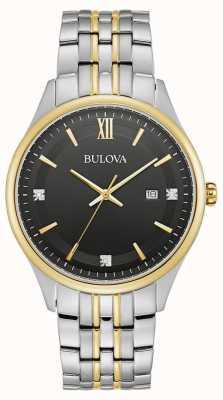 Bulova Uomo | quadrante nero | bracciale in acciaio inossidabile bicolore 98D160