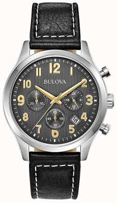 Bulova Cronografo cinturino in pelle nera quadrante nero 96B302