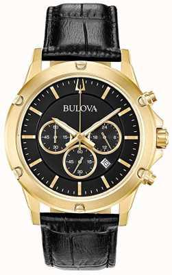 Bulova Cronografo cinturino in pelle nera quadrante nero 97B179