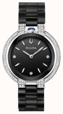 Bulova Rubaiyat | diamante | quadrante nero | bracciale in ceramica nera 98R266