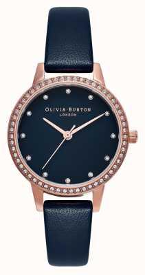 Olivia Burton Lunetta scintillante in madreperla blu navy midi, orologio in oro rosa e blu navy OB16MD99