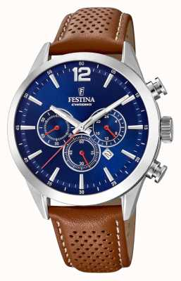 Festina Cronografo quadrante blu cinturino in pelle marrone F20542/3
