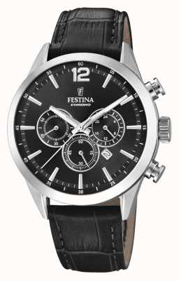 Festina Cinturino in pelle nera cronografo F20542/5