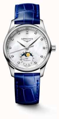 Longines Cinturino in pelle blu da donna collezione Master L24094870
