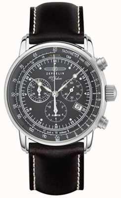 Zeppelin | serie 100 anni | cronografo data | cinturino in pelle nera 7680-2