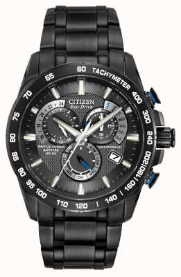 Citizen Mens radiocontrollato perpetuo al cronografo ip nero AT4007-54E