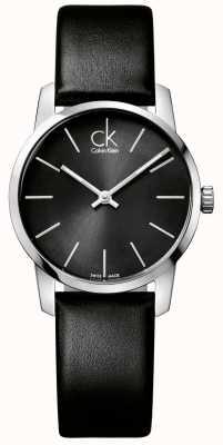 Calvin Klein Signore della città quadrante nero cinturino in pelle nera K2G23107