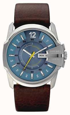 Diesel Mens Watch cinturino in pelle blu quadrante marrone DZ1399